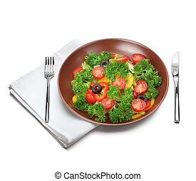 forchetta, fresco, coltello, insalata