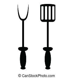 forchetta, griglia, vanga