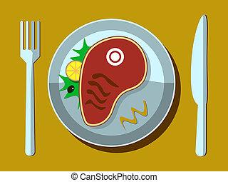 forchetta, lama bistecca, piastra bianca