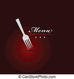 forchetta, menu, coperchio, ristorante