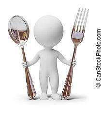forchetta, persone, -, cucchiaio, piccolo, 3d