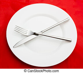 forchetta, piastra, bianco, vuoto, coltello