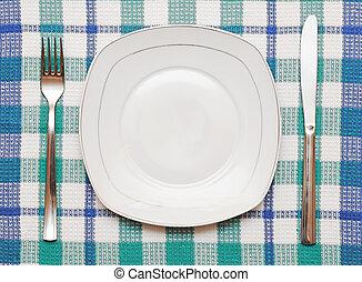 forchetta, piastra, checkered, vuoto, bianco, tovaglia, coltello