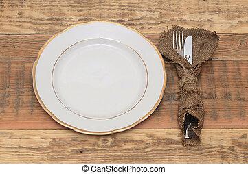 forchetta, piastra, legno, coltello, tavola., vuoto