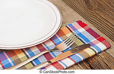forchetta, piastra, legno, vuoto, coltello tavola