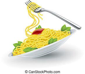forchetta, piastra, pasta, italiano