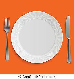 forchetta, piastra, realistico, coltello cena, vuoto