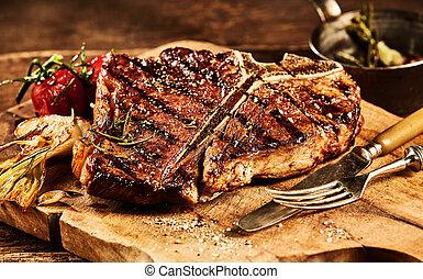 forchetta, succulento, t, cotto ferri, bistecca, osso, coltello