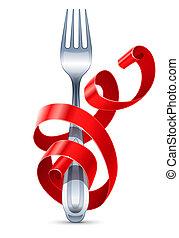 forchetta, tavola, nastro, intrecciato, rosso