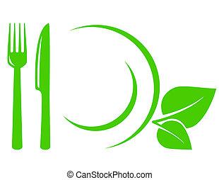 forchetta, vegetariano, icona, coltello, foglie