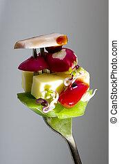 forchetta, verdura, space., mescolato, fresco, copia