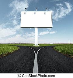forchetta, vuoto, strada, segno strada principale