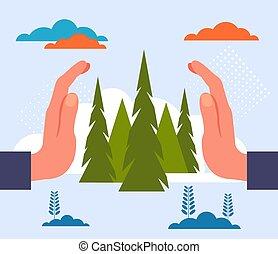 foresta, appartamento, natura, illustrazione, grafico, pianeta, albero, concept., vettore, disegno, risparmiare