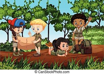 foresta, campeggio, bambini