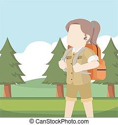foresta, femmina, esploratore