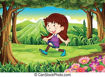 foresta, ragazza, giovane, gioco