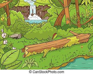 foresta, waterfal, vettore, giungla, cartone animato
