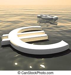 forex, esposizione, soldi, lontano, dollaro, andare, scambi, galleggiante, o, euro