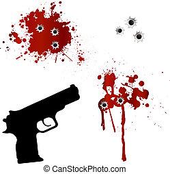 fori, fucile, pallottola, sangue