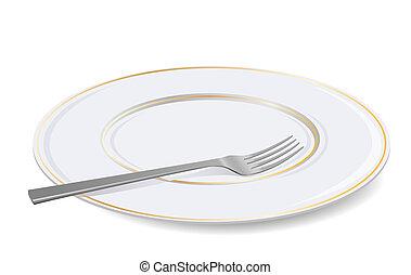fork., bianco, vettore, piastra