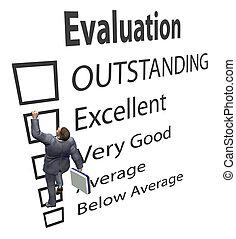forma, affari, salite, su, miglioramento, impiegato, valutazione