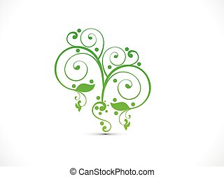 forma astratta, floreale, verde