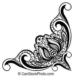 forma, astratto, angle., isolato, disposizione, sfondo nero, floreale, bianco, bordo