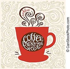 forma, caldo fresco, cups., caffè, citazione