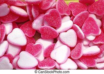 forma cuore, caramella, bianco, gelatina, rosa, dolci