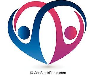 forma cuore, coppia, logotipo