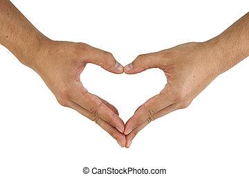 forma cuore, mani, fare, due