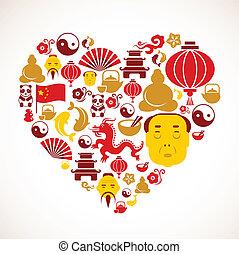 forma cuore, porcellana, icone