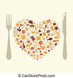 forma, cuore, ristorante, disegno