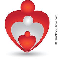 forma cuore, vettore, famiglia, logotipo