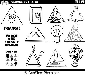 forma, educativo, triangolo, compito, bambini, libro colorante