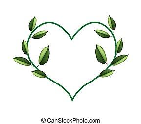 forma, foglie, cuore, bello, verde, vite