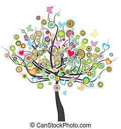 forma, leaves.eps, farfalle, fiori, cerchio, colorato, albero