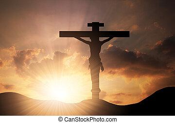 forma, nubi, croce, adorare, cristo, gesù, resurrection., fondo, simbolo, fede, dio, sopra, legno, concettuale, o, tramonto, credenza, religione, cielo, spirito, cristianesimo, religioso, santo