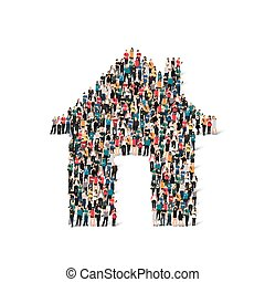 forma, persone, casa, gruppo