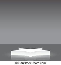 forma stella, podio, vettore, fondo, argento