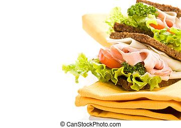 formaggio, 2, prosciutto, panino