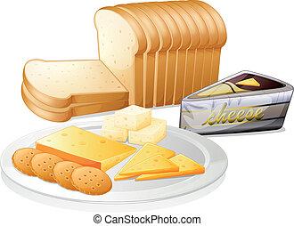 formaggio affettato, biscotti, bread