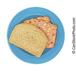 formaggio blu, panino, maccheroni, piastra