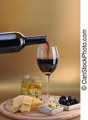 formaggio, bottiglia, vino