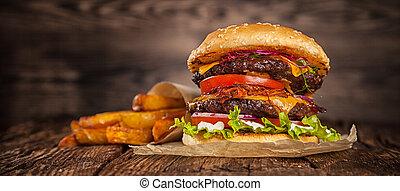 formaggio, casa, hamburger, lattuga, fatto