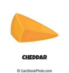 formaggio, cheddar, triangolare, illustrazione, realistico, vettore, pezzo
