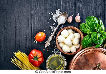 formaggio, cibo, basilico, pasta, mozzarella, italiano