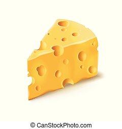formaggio, cibo, fori, 3d, realistico, vettore, latteria, pezzo, icona