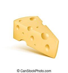 formaggio, icona, fori, realistico, vettore, trinagle, pezzo, 3d