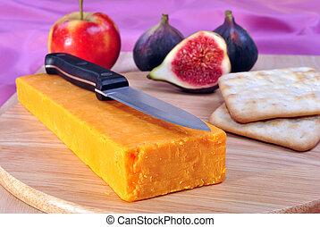 formaggio, organico, cheddar, un po', asse, legname